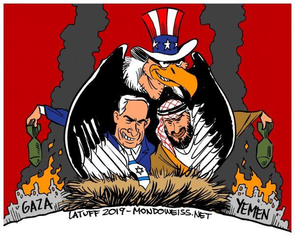 latuff cartoon  UAE en Israel beste vrienden